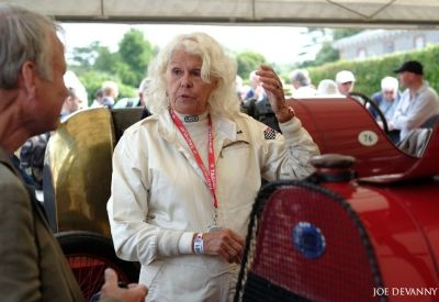 Peg discussing her Fiat S74