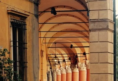 Early morning, sun covered portico - Bologna